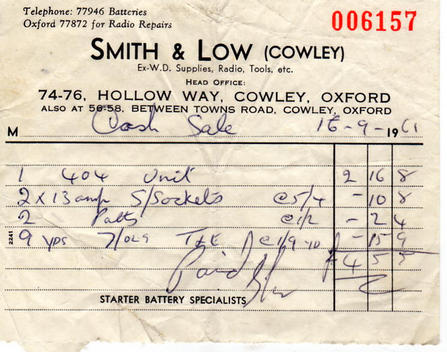 A receipt one of our customers found from 1961!