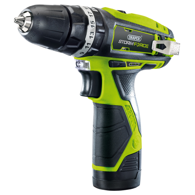 Draper Storm Force® 10.8V Cordless Hammer Drill with Li-ion Battery