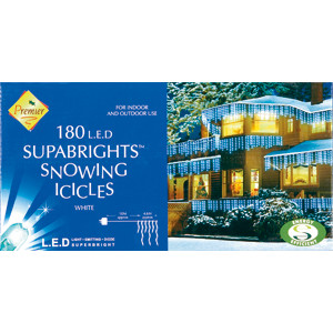 180 LED White Supabrights Snowing Icicles