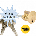 P1109 Replacement Rim Cylinder & 6 Keys Polished Brass Finish