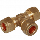 Compression Equal Tee Fitting 15 x 15 x 15mm - Brass