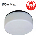 100w Round Light Fitting Opal with Black Base